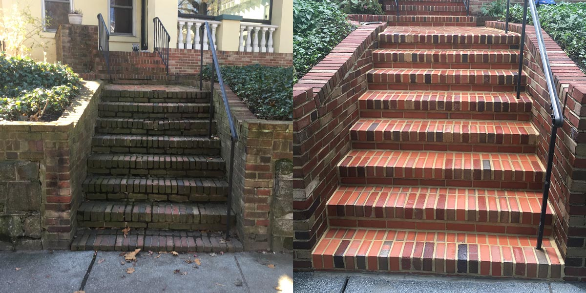 Brick Stairs Rebuild Before and After