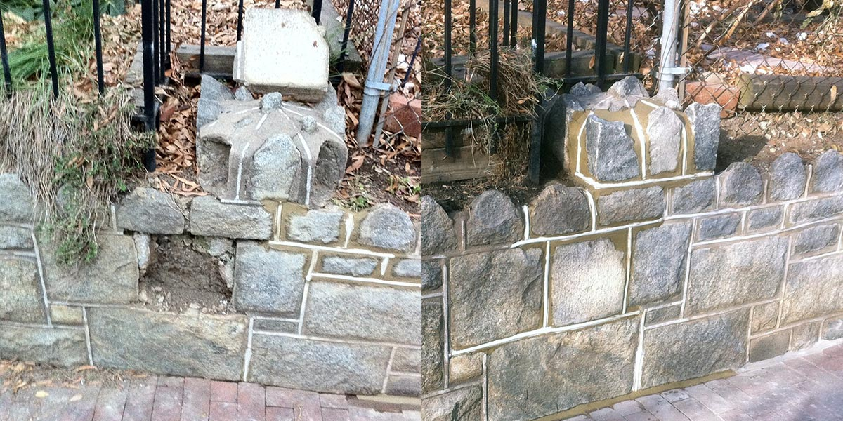 Stone Retaining Wall Restoration Washington D.C.